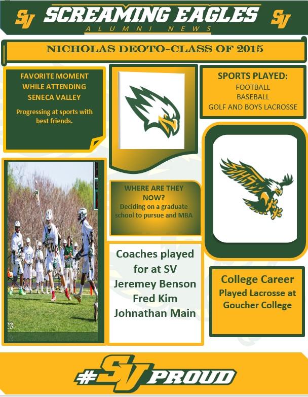 SVHS Alumni Spotlight- 2015 Graduate- Nicholas DeOto