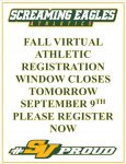 Fall Registration Window Closes tomorrow, September 9th- Register now