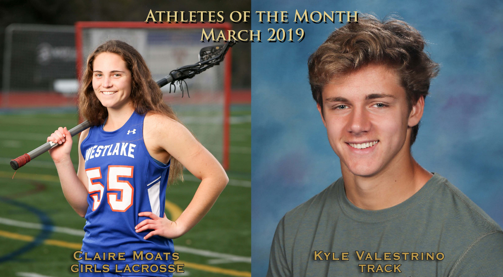 Moats, Valestrino Earn Athlete of the Month Honors for March