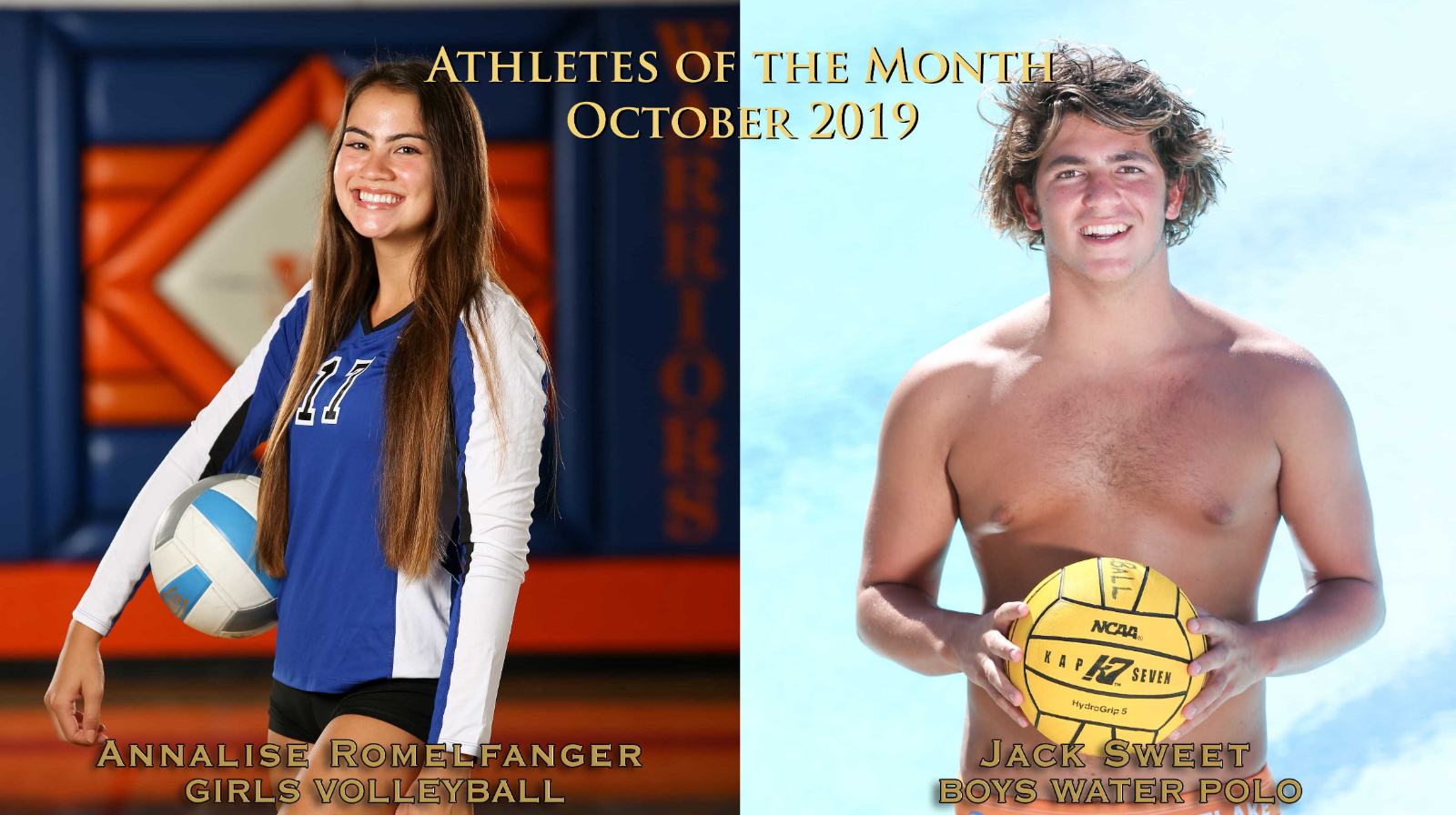Rommelfanger and Sweet Chosen October Athletes of the Month