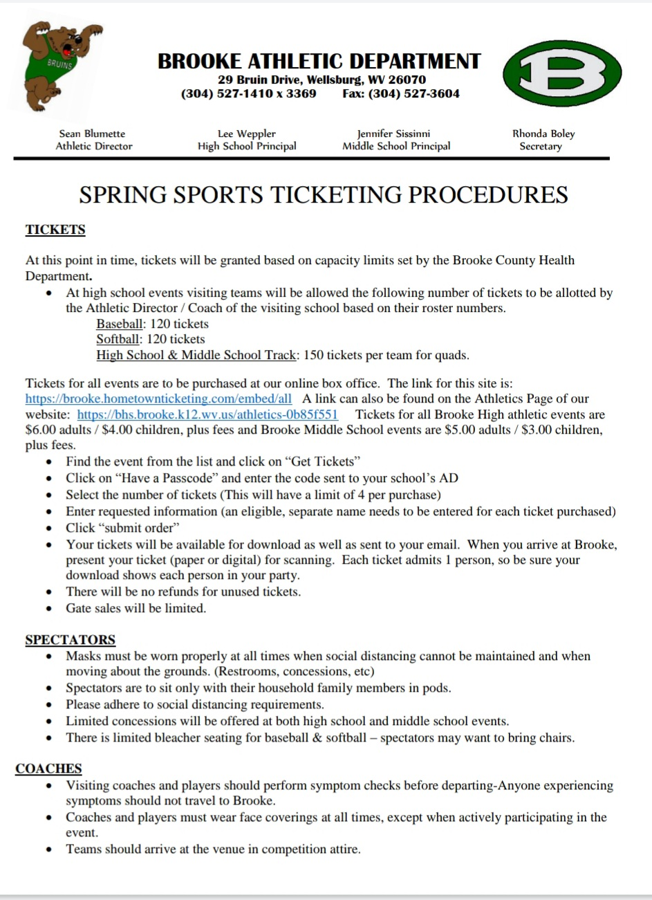 Ticketing info for Baseball at Brooke Tuesday