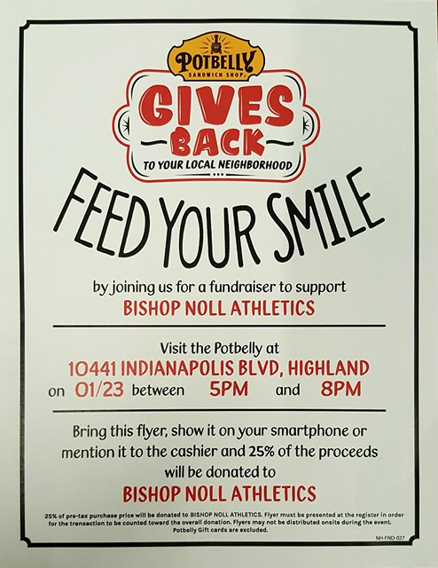 Bishop Noll Athletics Fundraiser @ Potbelly Sandwich Shop Tues. 1/23/18