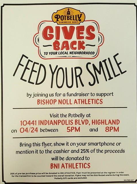 BNI Athletics Fundraiser @ Potbelly Sandwich Shop Tues. April 24, 2018 5pm – 8pm