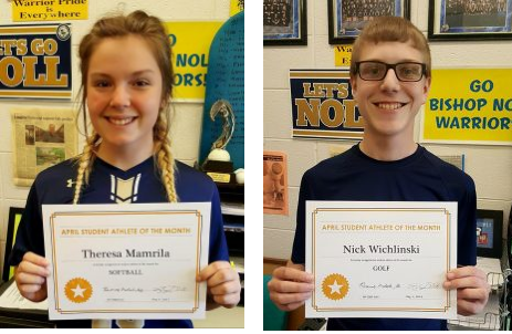 Congratulations to our Student Athletes of the Month of April!
