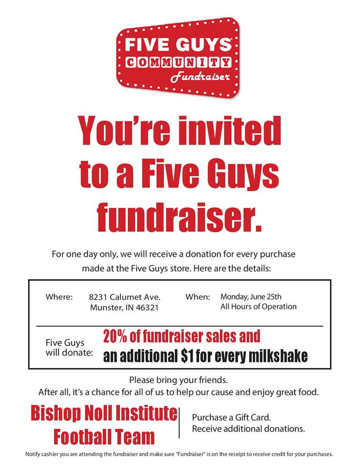 Football Fundraiser @ Five Guys in Munster, IN on Monday 6/25/18
