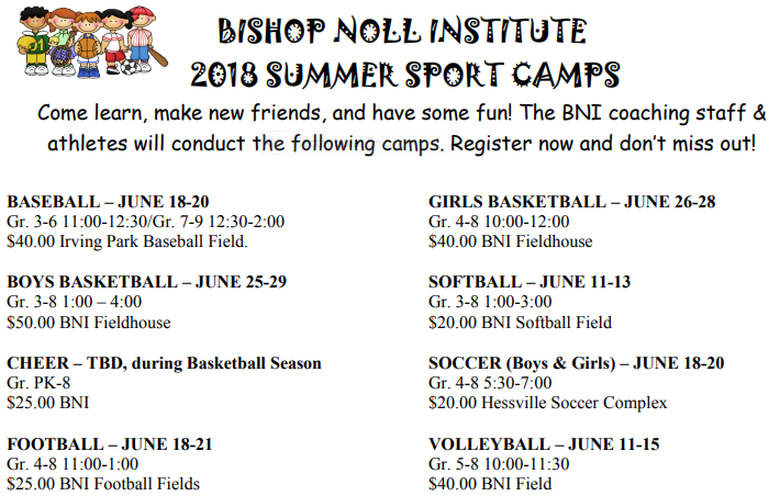 Summer Camp Dates for 2018