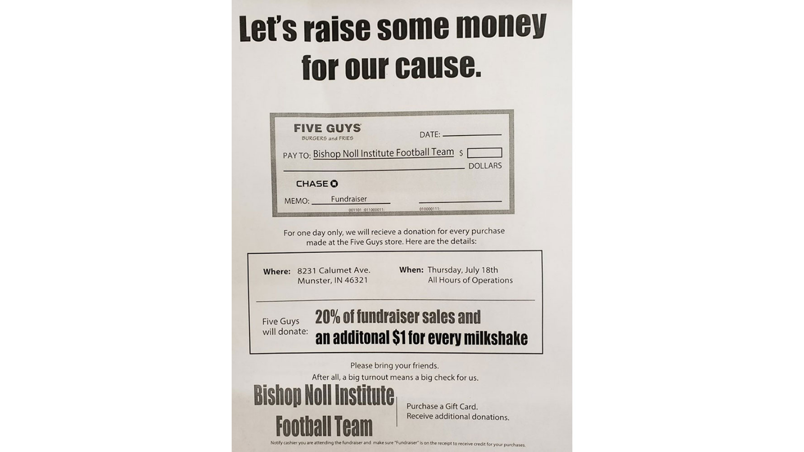 DINE TODAY AT FIVE GUYS, HELP FOOTBALL TEAM!