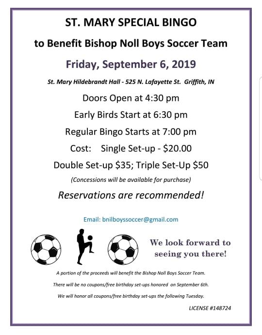 Friday, Sept. 6, 2019 Bingo Fundraiser for Boys Soccer Team