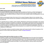 IHSAA Spring Sports Officially Cancelled