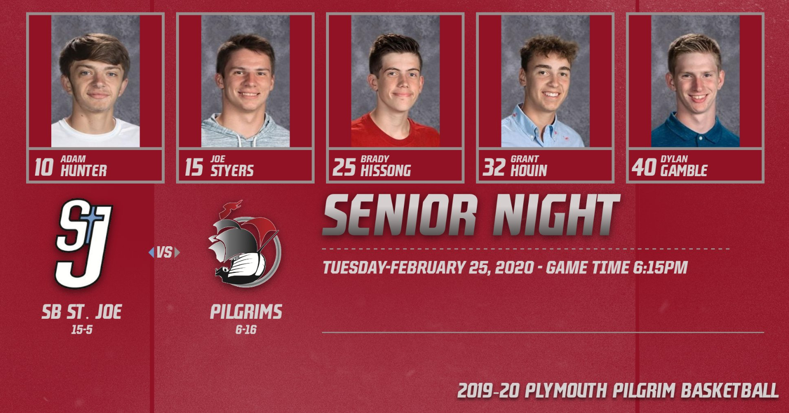 Senior Night for Boys Basketball is set for, Tuesday-February 25th
