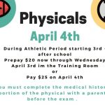 2019-20 Physicals at PMHS April 4th