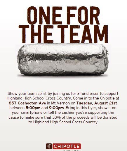 Chipotle Cross Country Fundraiser Tuesday August 21st!