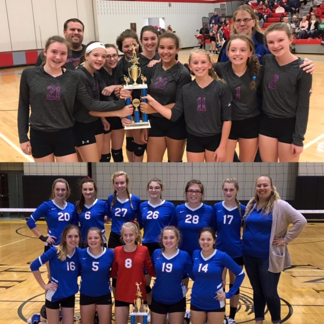 7th & 9th Grade Volleyball Teams win KMAC Championships!