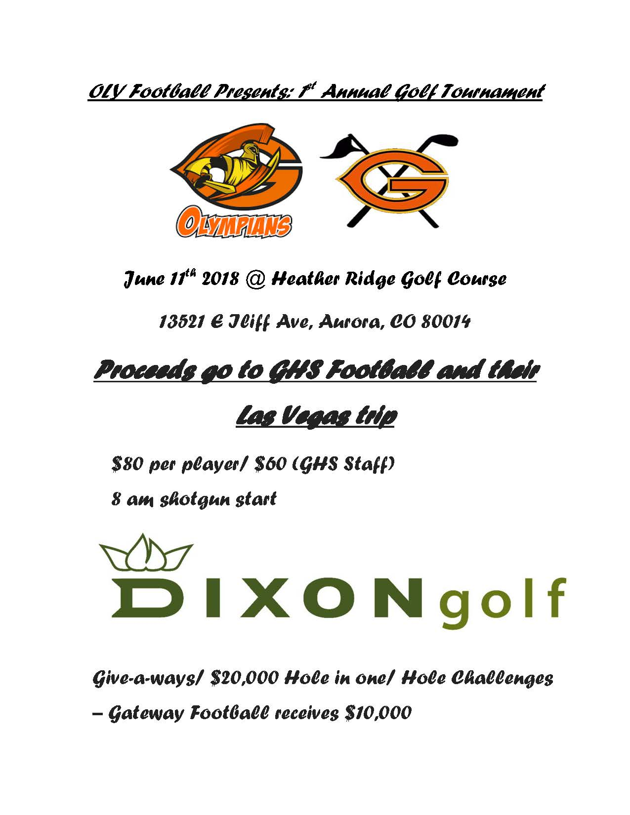 OLY Football Presents: 1st Annual Golf Tournament – June 11th