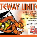 Boys Basketball on the Road at Denver East – 1st Round 2019 State 5A Playoffs