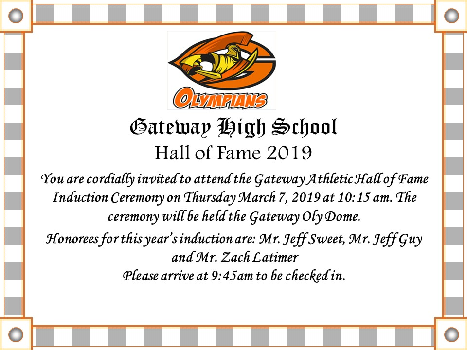 Gateway High School Hall of Fame Class of 2019