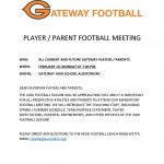 Gateway Football Player/Parent Meeting February 10th 7pm