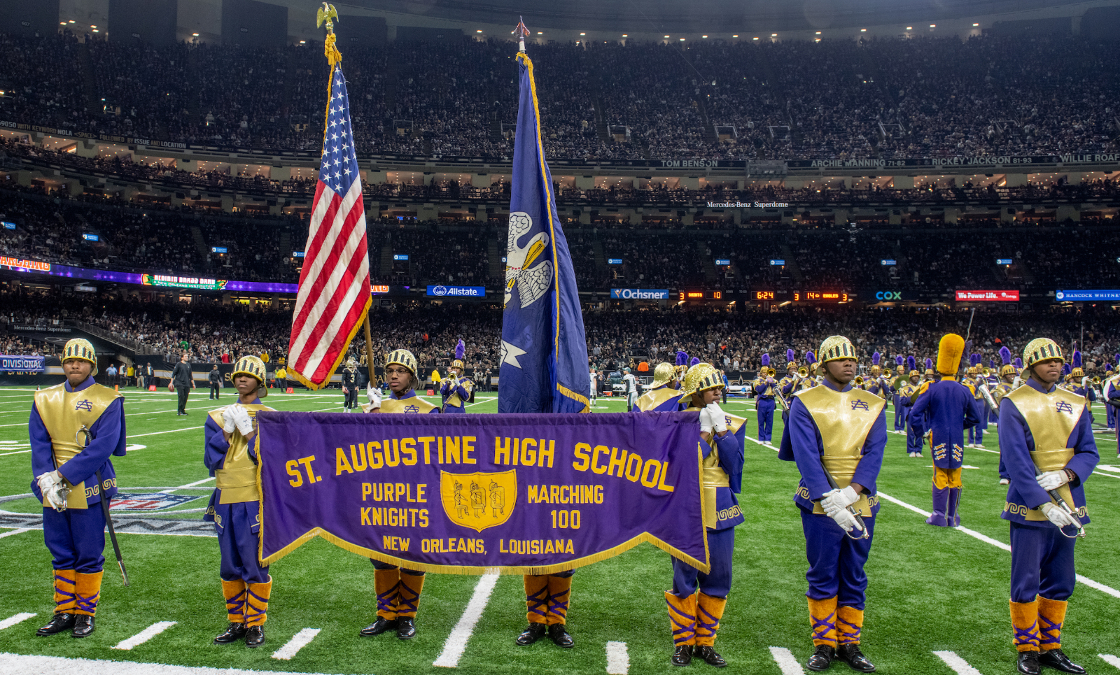 Marching 100: Saints game halftime performance Photos and Video