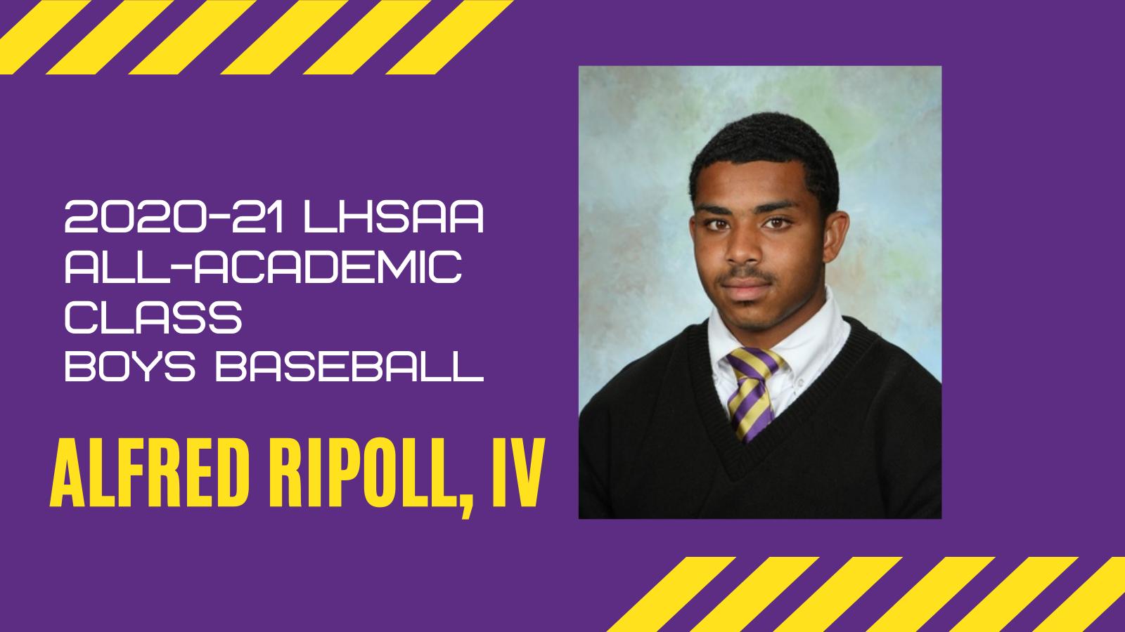Ripoll named to LHSAA 2020-2021 Baseball All-Academic Class