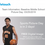 Middle School Track Pictures Are Monday (3/25)