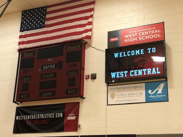 West Central Gymnasium Signage Display Installed