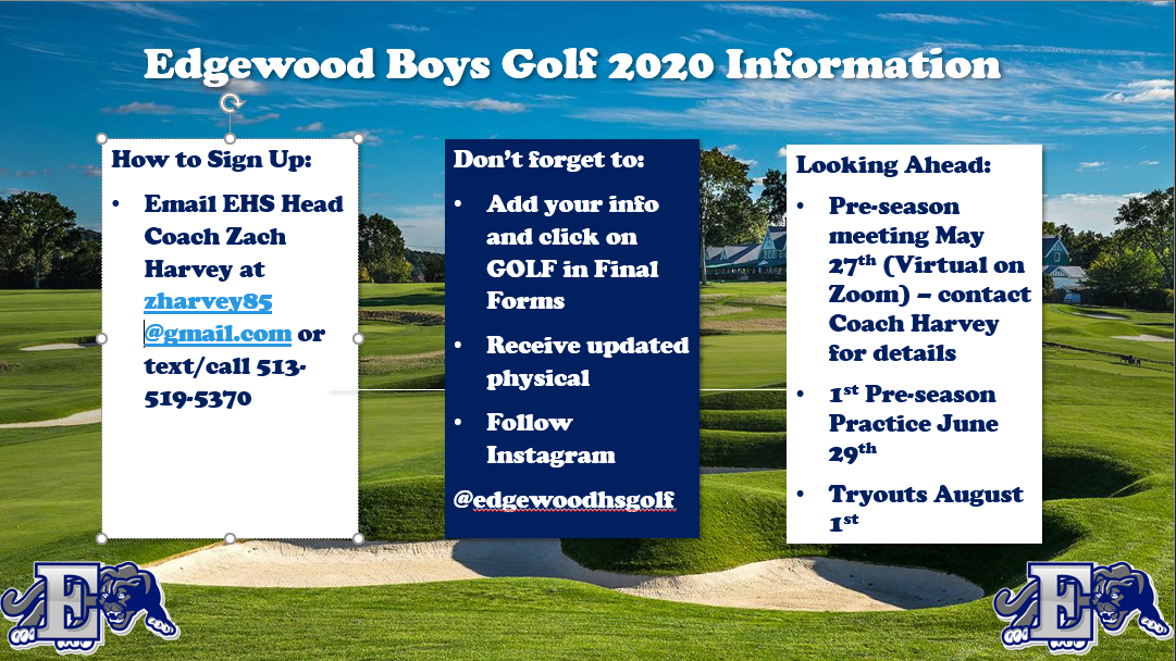 EHS Boys Golf 2020-2021 School Year
