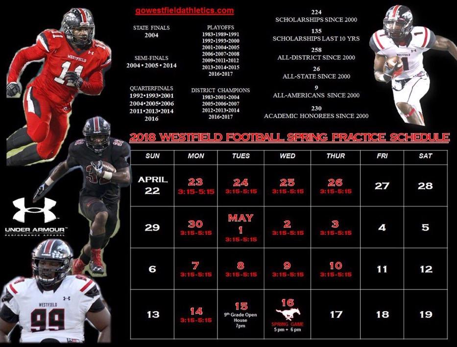 2018 Spring Football Practice Schedule