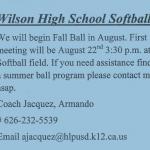 Softball Summer Info