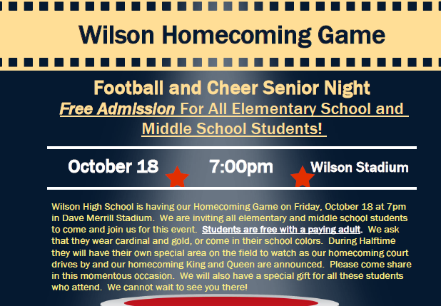 """All Elementary and Middle Schools Students are Invited """"Homecoming 2019"""""""