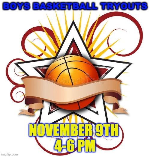 Boys Basketball Tryouts Nov 9th