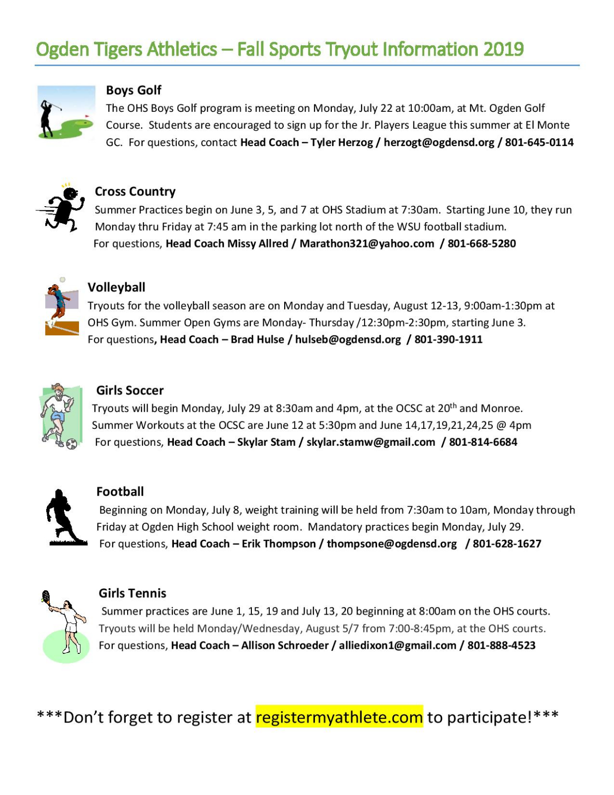 Fall Sports Tryout and Summer Information