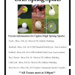 Spring Sports Tryouts Information