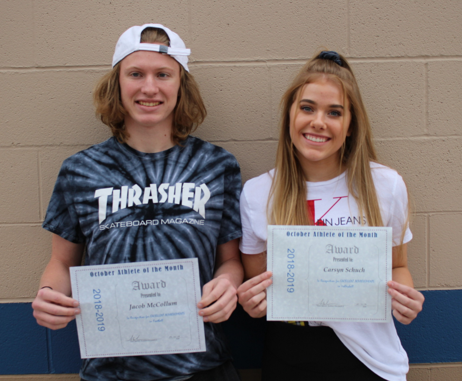 Congratulations October Athletes of the Month