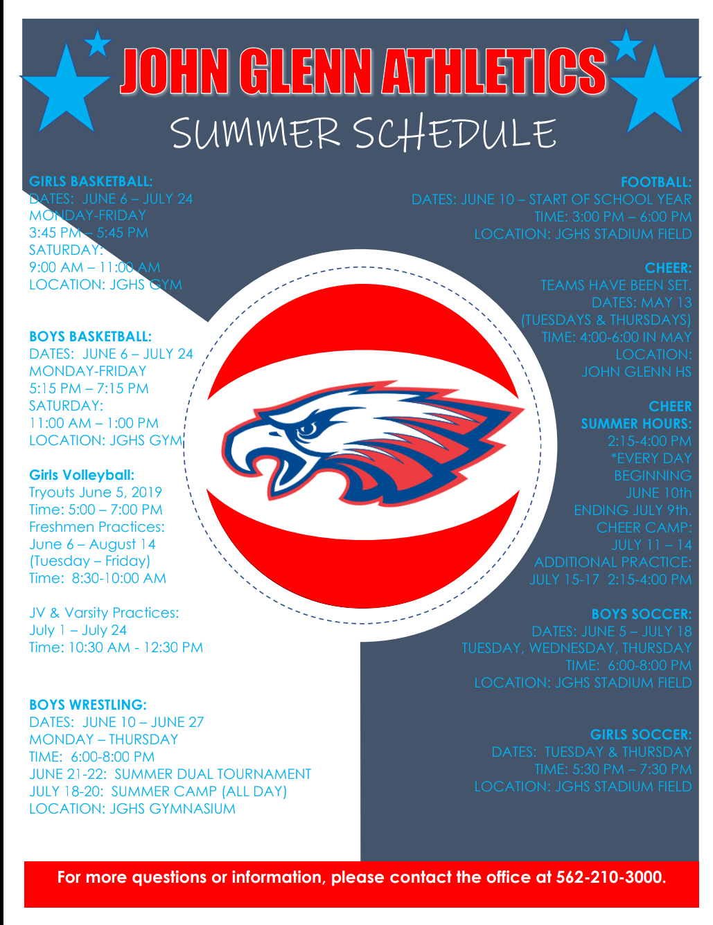 Summer Athletics Schedule