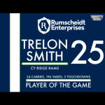 CONGRATS T. SMITH – PLAYER OF THE GAME 9/1/16