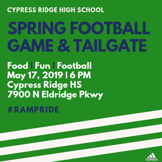SPRING FOOTBALL GAME & TAILGATE  MAY 17TH