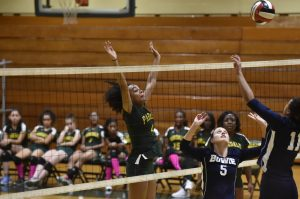Parkdale Volleyball action vs Bowie HS