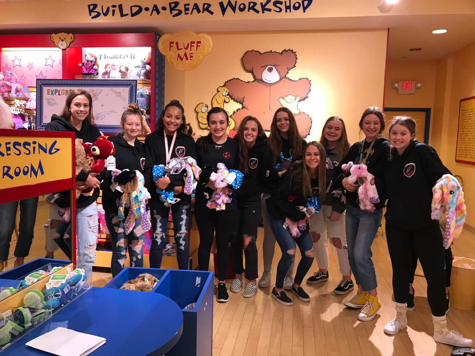 Girls Soccer at Build-A-Bear for Children's Hospital Donation