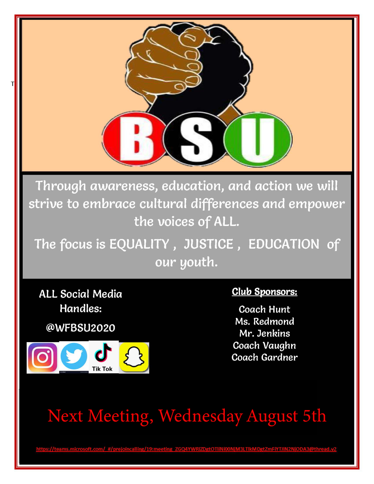 Attention All Students Interested In the Black Student Union