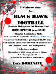 Varsity Football Home Opener Ticket Sale!!!!