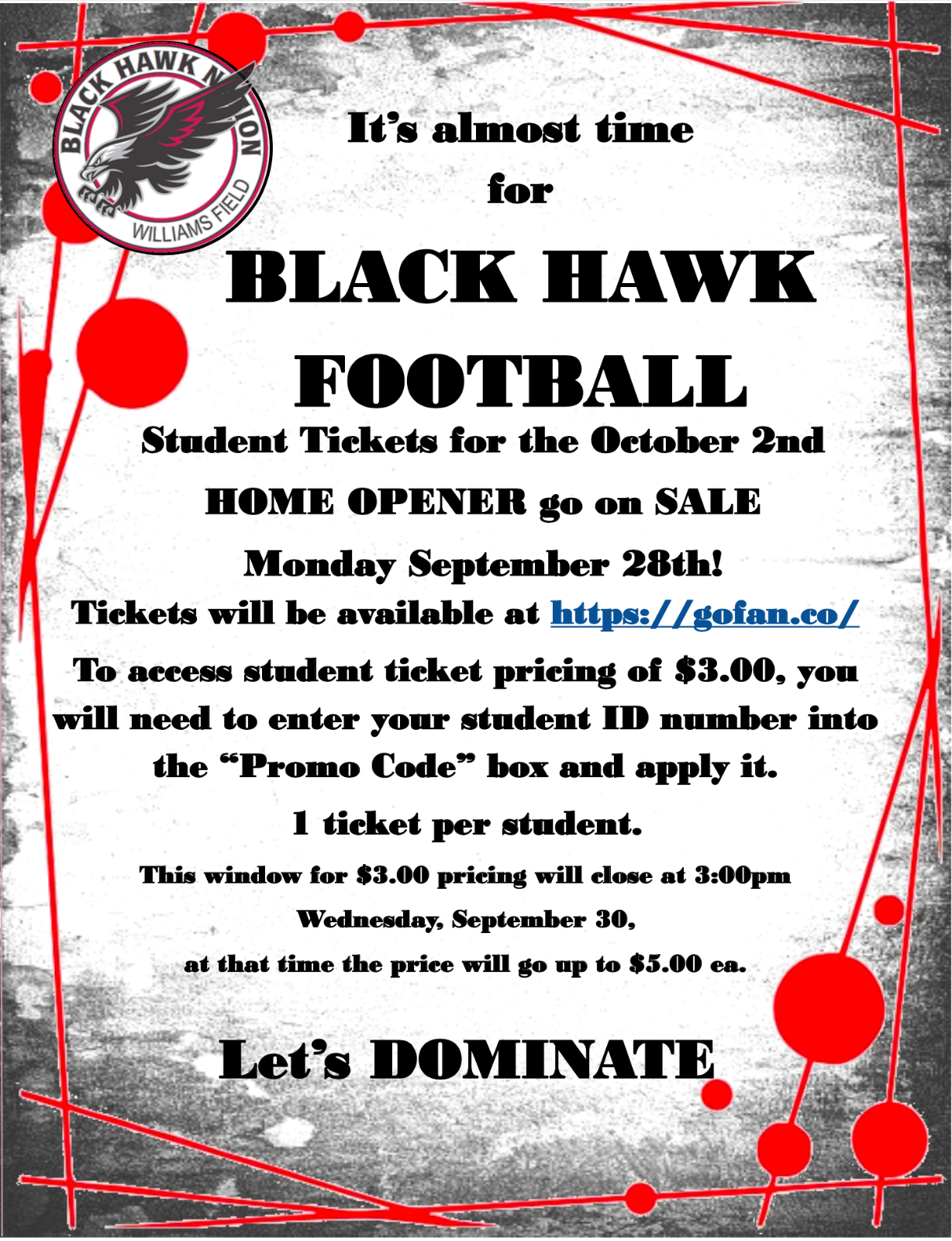 Varsity Football Home Opener Ticket Sale!!!!