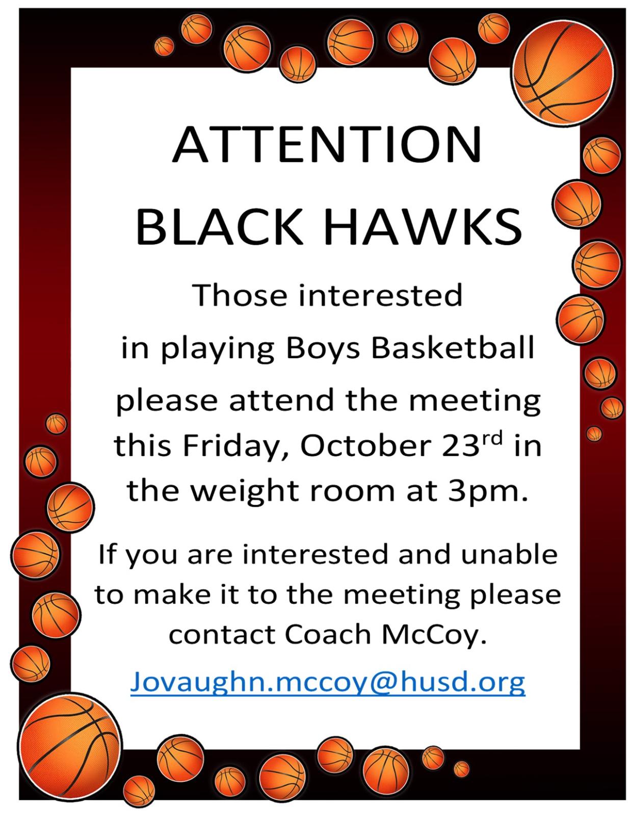 Boys Basketball Info Meeting