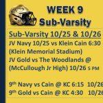 WEEK 9 Sub Varsity Games