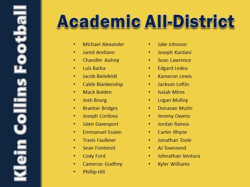 Academic All-District 2017