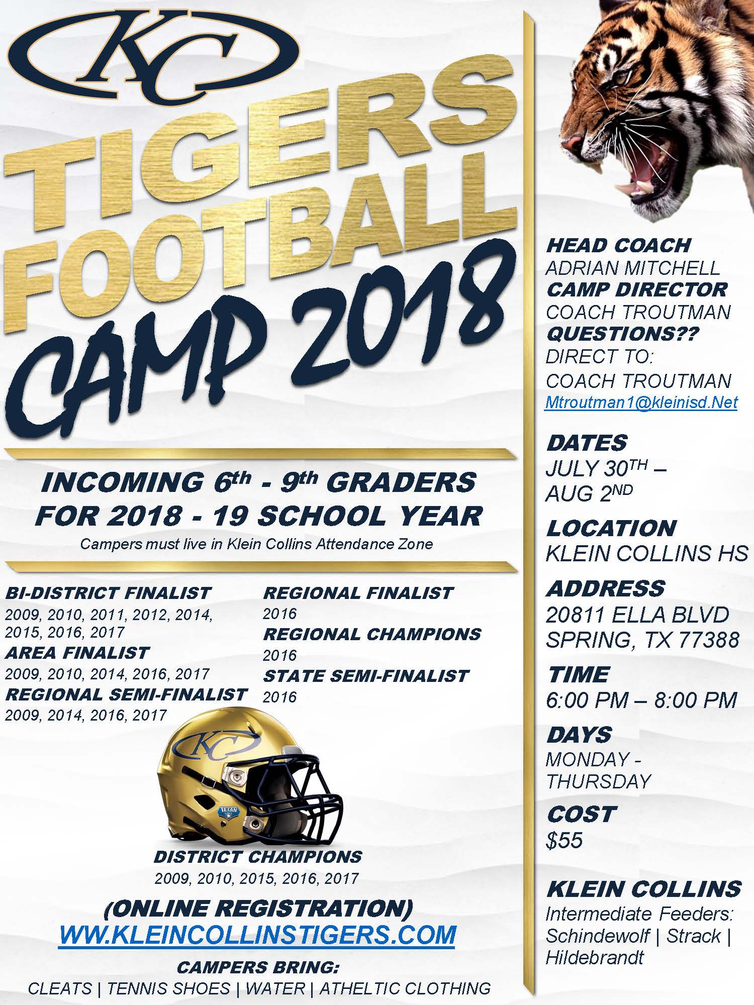 2018 Summer Football Camps Info