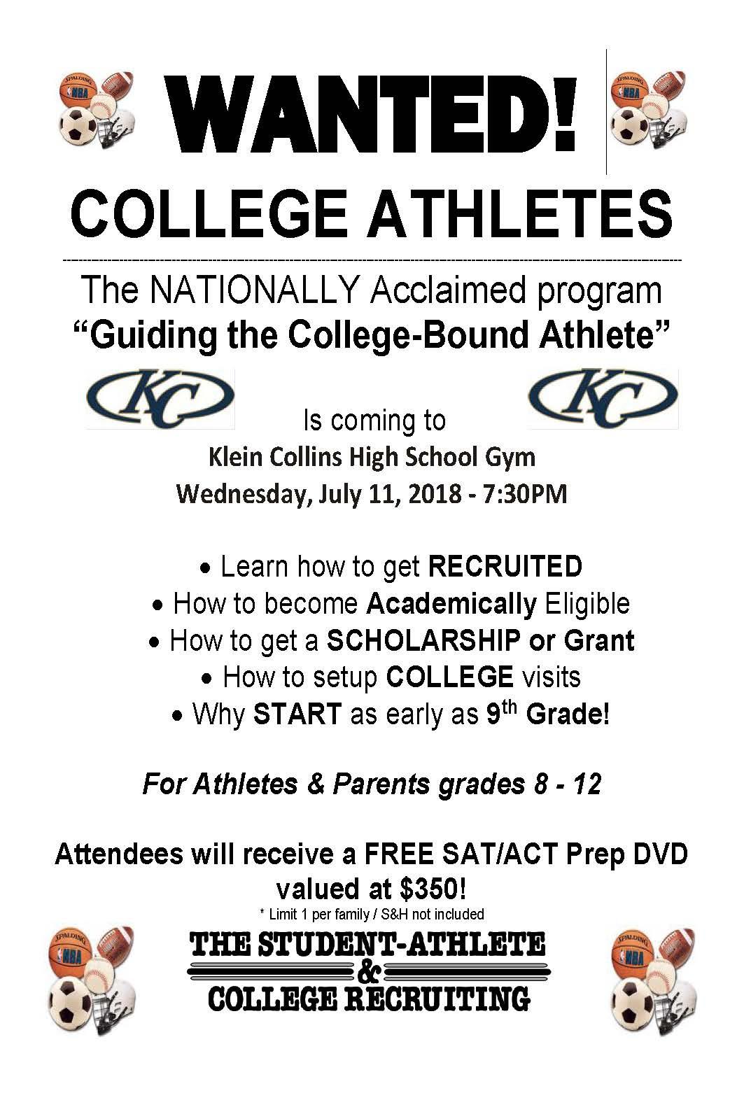NCAA Recruiting Seminar: July 11th & 12th
