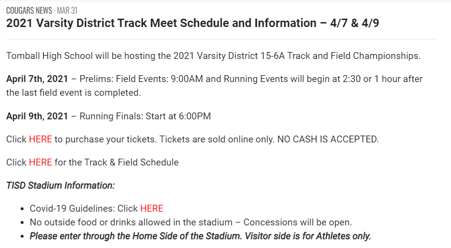 16-5A District Track Meet Information Link