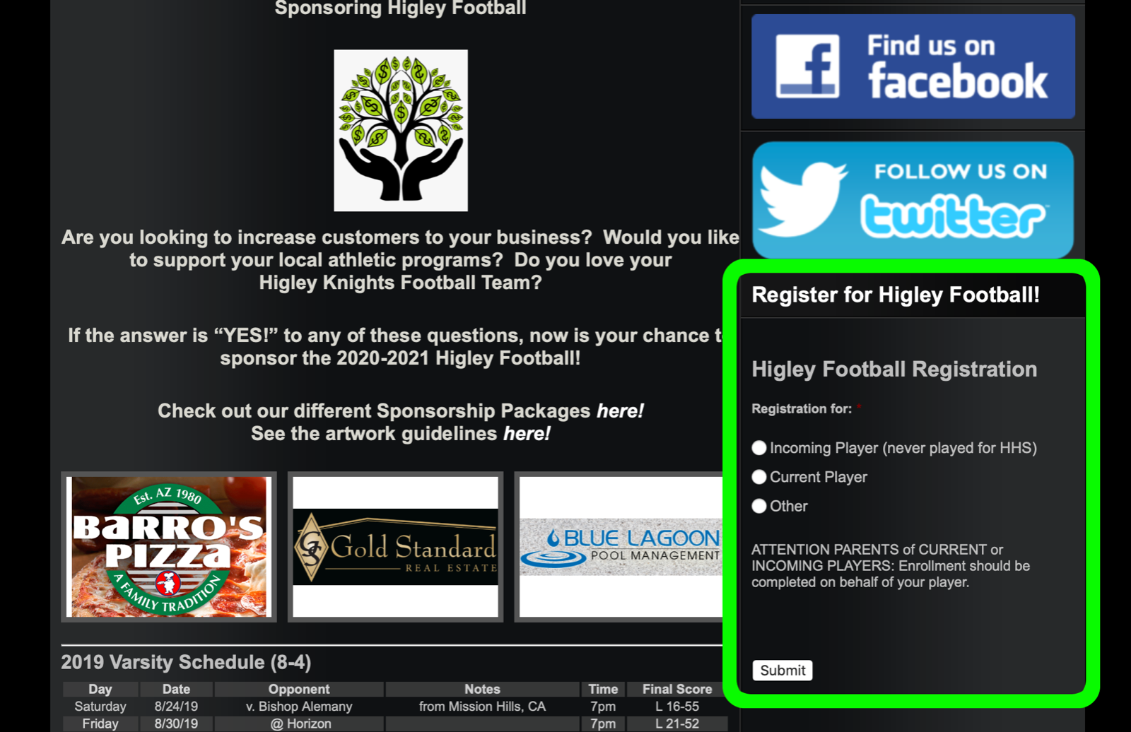 Screen shot of www.higleyfootball.com