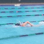 Girls Swimming Splashes the Falcons