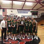 Boys Varsity Basketball wins the Ganskie Tourney with a 75-30 victory over Highlands